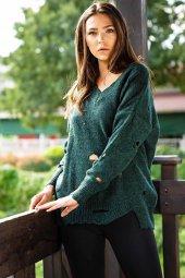 Kadın V Yaka Sökük Detaylı Kazak Yeşil Lb016