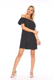 Kadın Kayık Yaka Puanlı Elbise Siyah 0357