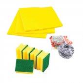 Acord 3lü Temizlik Seti (Sarı Bez,bulaşık Süngeri,top Tel)