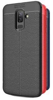 Samsung Galaxy J8 Kılıf Deri Desenli Özel Niss Silikon