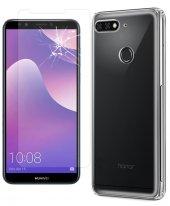 Huawei Y7 2018 London Kılıf Silikon + Nano Cam Ekran Koruyucu