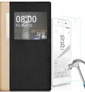 Sony Xperia Xa1 Pencereli Kapaklı Kılıf + Kırılmaz Nano Cam