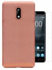 Nokia 6 Delikli Sert Silikon Kılıf Flexy + Kırılmaz Cam