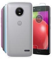 Motorola Moto E4 Soft İnce Silikon Kılıf + Nano Kırılmaz Cam