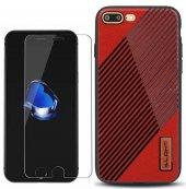 iPhone 8 Plus Kılıf Alansoo Silikon Kılıf Kırmızı + Kırılmaz Ca