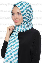 Alwayshawl Desenli Şal Tm 33 Beyaz Mavi