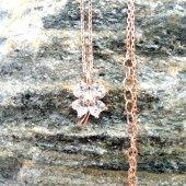 Kalp Kesim Zirkon Taşlı Dört Yapraklı Yonca Bayan Gümüş Kolye-5