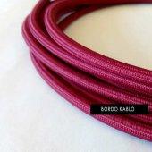 2x0,50mm Bordo Renkli Dekoratif Örgülü Kumaş Kablo...