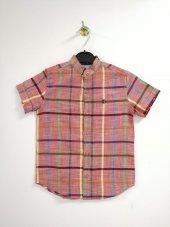 Turuncu Renkli Kareli Erkek Çocuk Gömlek Kod 358
