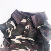 Kamuflaj Polo Yaka Tişört  Köpek Kıyafeti  Köpek Elbisesi-3