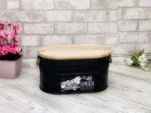 Shaddy Goods Ahşap Kapaklı Oval Ekmek Kutusu Siyah