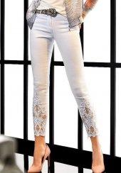 Marıe Mc Grath Paçası Desenli Ve Taşlı Bayan Kot Pantolon 4455 Beyaz