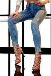 Marıe Mc Grath Paçası Taş İşli Bayan Kot Pantolon 4409 Mavi