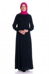 Yakası Lastikli Uzun Siyah Tesettür Elbise