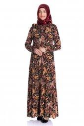 Yakası Lastikli Şal Desenli Lacivert Tesettür Elbise
