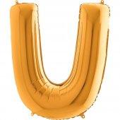 U Harf Grabo Altın Folyo Balon 102 cm