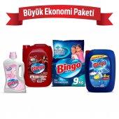 Büyük Ekonomi Paketi 9 Kg Toz Çamaşır Deterjanı Sık Yıkananlar + Çamaşır Yumuşatıcısı 5 L Lovely + Bulaşık Sıvısı 4 Kg + Yüzey Temizleyicisi 2,5 L Mutlu Yuvam