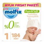 Molfix Pure&soft 1 Beden Yenidoğan Aylık Fırsat Paketi 184 Adet