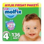 Molfix 3d Bebek Bezi Beden 4+ Maxiplus Aylık Fırsat Paketi 136 Adet