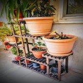 Ahşap 10 Raflı Balkon Saksı Standı Bahçe Saksılık Çiçek Rafı