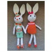 Amigurumi Organik El Örmesi Yıkanabilir 2 Tavşan Bebekler 45 Cm