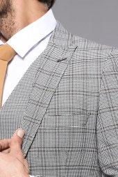 Ekose Gri Yelekli Slim Fit Takım Elbise | Wessi-2