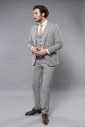 Ekose Gri Yelekli Slim Fit Takım Elbise | Wessi-3