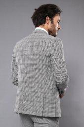 Ekose Gri Yelekli Slim Fit Takım Elbise | Wessi-4