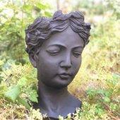 Antik Helen Büst Saksı Siyah Büyük