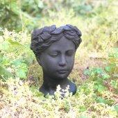 Antik Helen Büst Saksı Siyah Küçük