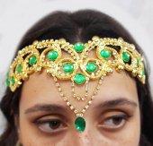 Kına Elbisesi Bindallı Yeşil Kristal Taşlı...