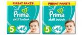 Prima Bebek Bezi 5 Beden 46 Lı 2 Paket Toplam 92 Adet Fırsat Pk