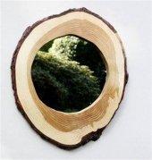 Qtük Ağaç Oyma Ağaç Ayna 35CM
