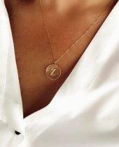 14 Ayar Altın Kolye Baş Harf İsim Tasarımlı Moda Kolye