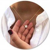 14 Ayar Altın Kolye Yıldız Tasarımlı Star Moda Kolye