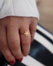 14 Ayar Altın Yüzük Kar Tanesi Tasarımlı Moda Yüzük