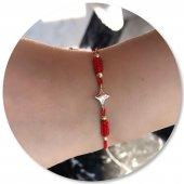 14 Ayar Altın Bileklik Kırmızı İpli Yıldızlı Moda Bileklik