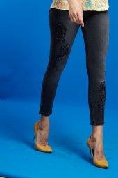 Marıe Mc Grath Taş Detaylı Dar Paça Bayan Kot Pantolon 4402 Siyah