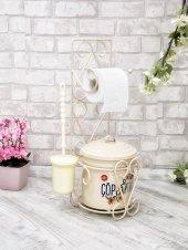 Tuvalet Kağıdı Askısı Tuvalet Fırçası Ve Çöp Kovası Seti Krem