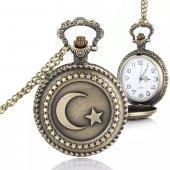 Tren tasarımlı Türk Bayrağı Zincirli Köstekli Cep Saati