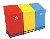 Palex 3561 1 Geri Dönüşüm 3lü Set Çatı Kapaklı...