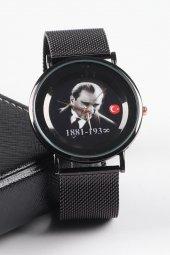 Ricardo Siyah Atatürk Portreli Erkek Kol Saati