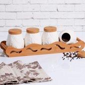 Bambu Stantlı Porselen 4' Lü Baharatlık
