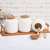 Bambu Stantlı Porselen 3' Lü Baharatlık