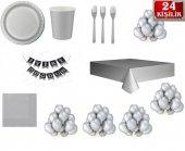Gümüş Set Gri Renk Doğum Günü Parti Malzemeleri...