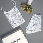 çiçek Desenli Şortlu Saten Yazlık Bayan Pijama Takımı