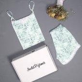 Çiçek Dantel Detaylı şortlu saten Yazlık Bayan Pijama Takımı
