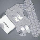 Gri Kareli Bayan Peluş Pijama Takımı