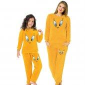 Tweety Desenli Tam Peluş Anneli Kızlı Pijama Takımı