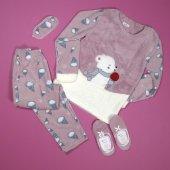 Dondurma Desenli Pudra Peluş Bayan Pijama Takımı